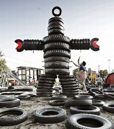 Tire playground in Nishi-Rokugo Park. Tokyo, Japan Tire Playground, Playground Ideas, Atelier Architecture, Cool Playgrounds, Tired Man, Reuse Old Tires, Tire Art, Culture Art, Used Tires