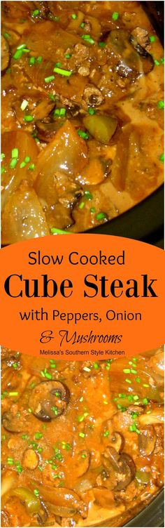 Slow Cooked Cubed Steak with Peppers, Onions And Baby Bella's