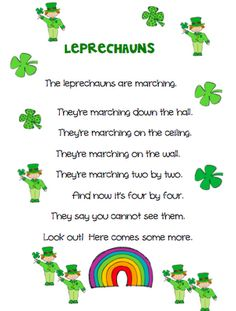 Leprechaun poem:  Free color & BW printables available from The Very Busy Kindergarten Blog.  Thank you!