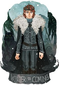 Robb Stark, the King in the North, and Grey Wind by Azim al Ghussein