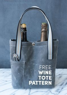 wine_tote1text-01  http://www.thesewingparty.com/2015/12/free-pattern-wine-tote/ #WineTote
