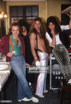 Michael Anthony, Alex Van Halen, David Lee Roth and Eddie Van Halen of the rock and roll band 'Van Halen' pose for a portrait session backstage at the Mason Temple Theatre on May 2, 1979 in Detroit, Michigan.