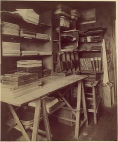 "Eugène Atget, (French, Libourne 1857–1927 Paris). [Atget's Work Room with Contact Printing Frames], ca.1910. The Metropolitan Museum of Art, New York. Purchase, The Horace W. Goldsmith Foundation Gift, through Joyce and Robert Menschel, 1990 (1990.1026.3) | This photograph is featured in ""Paris as Muse: Photography, 1840s–1930s,"" on view through May 4, 2014. #paris"