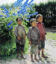 Nikolai Bogdanov-Belsky (Russian 1868–1945) [Realism] Country Boys, 1910.