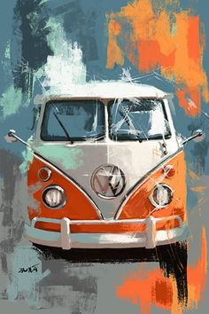 Bus Drawing, Cool Car Drawings, Art Drawings, Bus Art, Garage Art, Hippie Art, Automotive Art, Art Moderne, Arte Pop