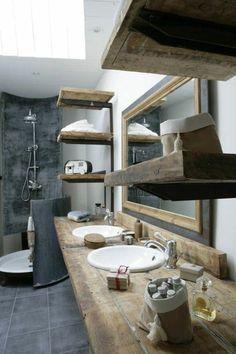 deco salle de bain rétro, meubles pour la salle de bain, salle de bain grise