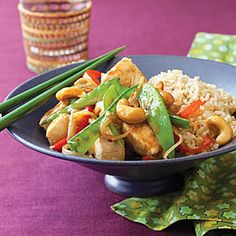 Honey Cashew Chicken. Saw this recipe in All You magazine and tried it out for some dinner guests. It was delicious & we loved it! Subbed chicken base (or could use bouillon) for the broth, sesame seeds because I didn't have sesame oil. The next time, I used frozen stir-fry veggies and peanuts. This is a good stir-fry basic.