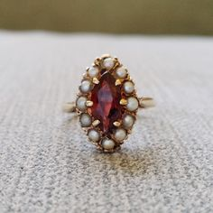 Antique Garnet and Seed Pearl Engagement Ring Art by PenelliBelle