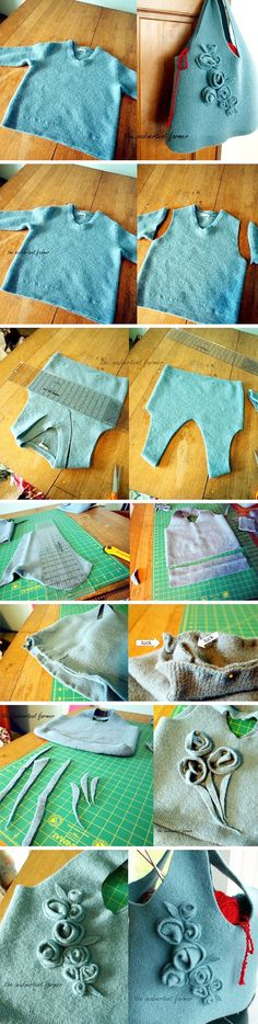 Sweater Tote- awesome inexpensive hand made gift!