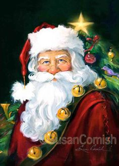 Susan Comish Christmas Art Gallery | Quality Prints & Original Artwork - I'm not usually big on Christmas artwork, but I love this painting of Santa!