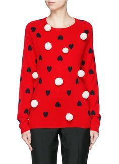 Chinti & parker Pompom Heart Intarsia Cashmere Sweater in Red (Red,Multi-colour)
