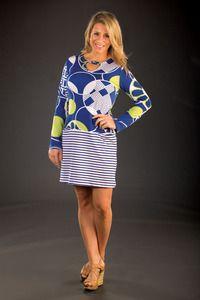 Tracy Negoshian Geometric Striped Dress available through shopatpolkadots.com
