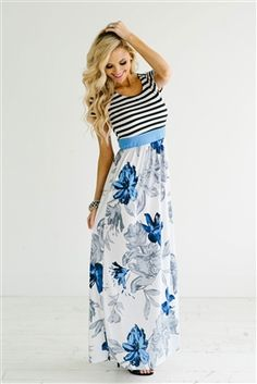 Comfy Blue Floral Modest Maxi Dress, modest dresses, best place to buy modest…