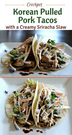 Crockpot Korean Pulled Pork Tacos with a Creamy Sriracha Slaw. Tender pulled pork topped with a crunchy slaw with a creamy sriracha dressing.sauce didn't thicken but taste was great! Slow Cooker Pork, Slow Cooker Recipes, Crockpot Recipes, Cooking Recipes, Cooking Blogs, Cooking Pasta, Cooking Bacon, Healthy Recipes, Cooking Turkey