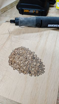 experimenting with pyrography, aka wood burning art, using the new MakerX combo kit - battery powered wood/metal crafting tool that heats up and can make beautiful works of art using the included heated tips #pyrography #diyart #christmascrafts #woodworking #tools #art #pinecone Wood Burning Art, Angle Grinder, Rotary Tool, Pinecone, Valentine Cards, Diy Tools, Pyrography, Wood And Metal, Woodworking Tools