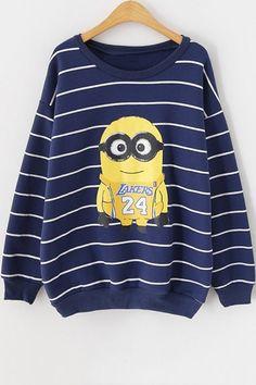 Cartoon Striped Sweatshirt OASAP.com