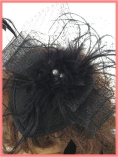Black Feather Netting Fascinator Cocktail Hat-Vintage Style Hats