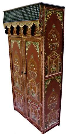Moroccan Style Armoires - Mediterranean decor pieces of all kind are offered by Star of Morocco along with a new line of Moroccan furniture items. Furniture Legs, Furniture Decor, Painted Furniture, Moroccan Design, Moroccan Style, Moroccan Furniture, Sewing Cabinet, Spanish Tile, Mediterranean Decor