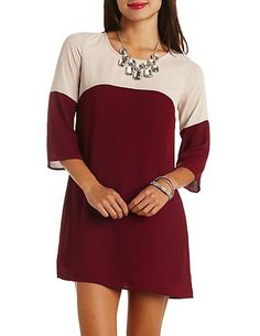 Color Block Chiffon Shift Dress: Charlotte Russe