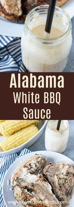 Alabama White BBQ Sauce is a tangy creamy twist on traditional barbecue sauce recipe Its delicious on grilled chicken pulled pork fish burgers and lots Alabama White Sauce, White Bbq Sauce, White Sauce Recipes, Barbecue Sauce Recipes, Grilling Recipes, Cooking Recipes, Barbecue Sauce Recipe For Pulled Pork, Bbq Sauces, Keto Bbq Sauce