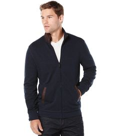 498ffb600 Perry Ellis Big   Tall Full-Zip Elbow Patch Sweater