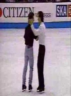 """Kurt Browning (gold) and Elvis Stojko (silver) in a """"pairs"""" performance at the 1993 world championships in Prague - ice skating"""