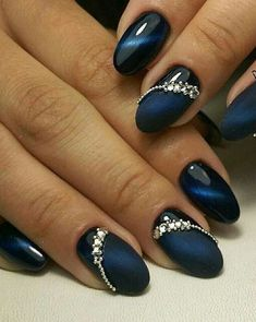 Cobalt Blue Nails With Rhinestones;blue manicure;blue nail d.- Cobalt Blue Nails With Rhinestones;blue manicure;blue nail designs;Blue Gel;Nail Polish;blue nail art;rhinestone nails; - Cobalt Blue Nails, Blue Gel Nails, Nail Art Blue, Acrylic Nails, Dark Blue Nails, Bleu Cobalt, Coffin Nails, Trendy Nails, Cute Nails