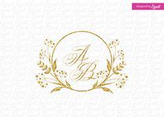 floral wedding monogram-wedding logo-wedding by Linvit on Etsy