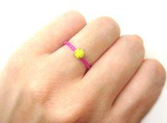 Fuchsia Beaded RING w/ Neon Yellow Rhinestone  by minifabo on Etsy, $11,90