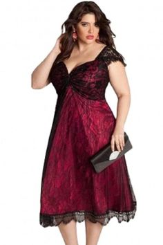 Lady Square Collar Lace Dresses 2016 Summer New Big Size Women Clothing  vestido Wine Red Black Short Sleeve Evening Party Dress 02182fd514e2