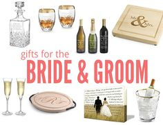 personalized gifts for the bride and groom from Things Remembered // wine glasses, champagne glasses, cutting board, champagne bucket, personalized wine bottles
