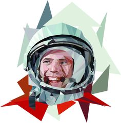 #lowpoly #art #gagarin #space #illustrator