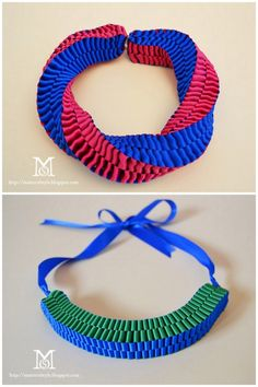 DIY Color Blocked Ribbon Statement Necklace Tutorial. I posted a very similar tutorial by Yellow Blackbird here who did an amazing knockoff of Anthropologie's Accordian Strands Necklace. A Matter of Style for Style.it has come up with a color blocked and also a striking twisted version (top photo) of the ribbon necklace here.