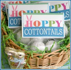Hoppy Easter....frosted donut holes make the perfect cottontail!  The bag topper is available for printing. :)