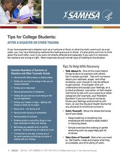 Tips for College Students: After a Disaster or Other Trauma