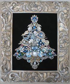 FRAMED VINTAGE RHINESTONE JEWELRY CHRISTMAS TREE ~ ANGEL VIOLIN BELL