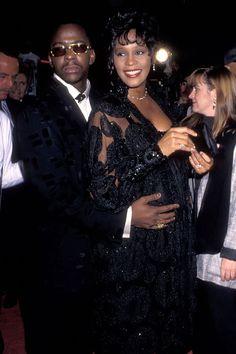Whitney Houston & Bobby Brown when she was pregnant with Bobbi Kristina.