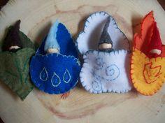 Fire Sprite Whimsical Waldorf Pocket Gnome Peg by sugarplumhollow