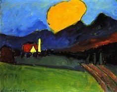 Gabriele Munter landschaft mit gelbe Wolke