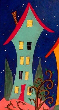 Folk Art Pejzaż nowoczesne domy oryginalny przez johnblakefolkartist