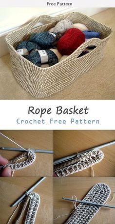 DIY Crochet Rope Basket Tutorial Free Pattern (Video): Crochet Storage Basket with Twine rope, nylon rope for home organization. Diy Crochet Rope Basket, Crochet Basket Pattern, Crochet Basket Tutorial, Knit Basket, Fabric Basket, Crochet Simple, Knit Or Crochet, Crochet Hooks, Crotchet
