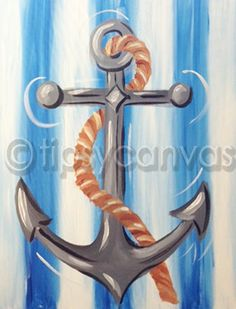 Lots of ideas of things to paint - Tipsy canvas 1121 150 1 Lauren Miller Artsy Fartsy Allison Carrington Thanks Diy Canvas, Canvas Art, Canvas Paintings, Beach Canvas, Canvas Ideas, Diy Painting, Painting & Drawing, Anchor Painting, Cuadros Diy