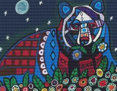 Cross Stitch Kit Bear Abstract Folk Art By Heather by GeckoRouge, $87.00
