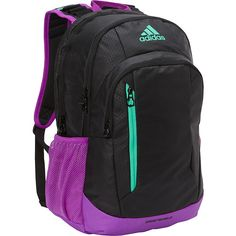 Adidas Mission Backpack ($48) ❤ liked on Polyvore featuring bags, backpacks, black, knapsack bag, adidas bag, padded backpack, backpack bags and water resistant backpack