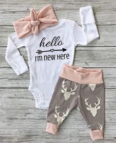 hello world heart and arrow baby girl pink and grey theme nursery pink and gray theme baby headband for baby girl antler girl deer girl  by EatSleepDrool on Etsy