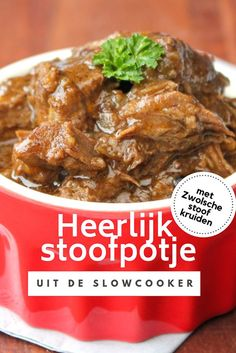 Het … With this easy recipe you can make a delicious stew from the slow cooker. The end result is a delicious autumnal stew with tender juicy meat. Slow Cooker Recepies, Healthy Slow Cooker, Crock Pot Slow Cooker, Healthy Crockpot Recipes, Meat Recipes, Cooking Recipes, Slow Cooking, Healthy Meals For Two, Easy Meals