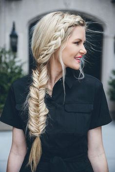 Side braid into a fishtail braid || Trança lateral e trança rabo de peixe