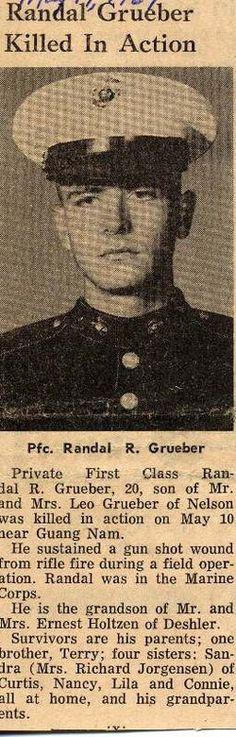 PFC Randall Roman Grueber USMC Bravo Company 1/3 Marines KIA May 10 1967 Quang Nsm Vietnam hostile small arms fire +++you are not forgotten+++