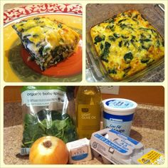 spinach leaves and diced white onion in olive oil, beat 10 eggs lightly, crumble 3 oz. Mix all together with cup low fat cottage cheese in casserole dish. Bake for 30 minutes on Delish and low fat! Breakfast Quiche, Breakfast Recipes, Breakfast Ideas, Low Carb Recipes, Cooking Recipes, Healthy Recipes, Clean Eating, Healthy Eating, Healthy Food