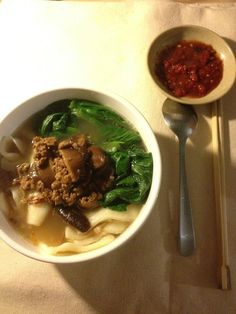 Malaysian food: Broth Pan Mee